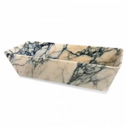 Lavatório de bancada em mármore Paonazzo Quadrado Design Made in Italy - Karpa
