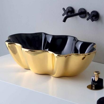 Lavatório de apoio em cerâmica dourada e preta fabricada na Itália Cubo