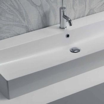 Projeto bancada ou lavatório de parede em cerâmica colorida Leivi