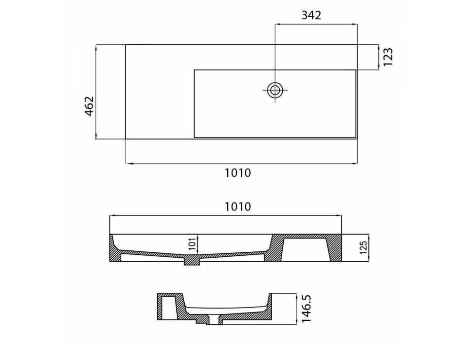 Lavatório de apoio simples de parede ou de bancada em Leivi Ceramic