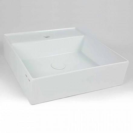 Lavatório de apoio quadrado de cerâmica moderno fabricado em Itália - Piacione