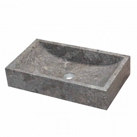 Lavatório de apoio retangular de mármore cinza Satun