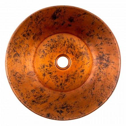 Lavatório de bancada redondo artesanal em cobre, Palosco, peça única