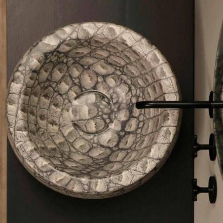 Pia de cerâmica redonda Elisa com padrão caiman, fabricada na Itália