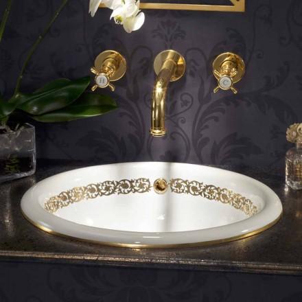 Pia do banheiro embutido em argila de fogo e ouro 24k made in Italy, Otis