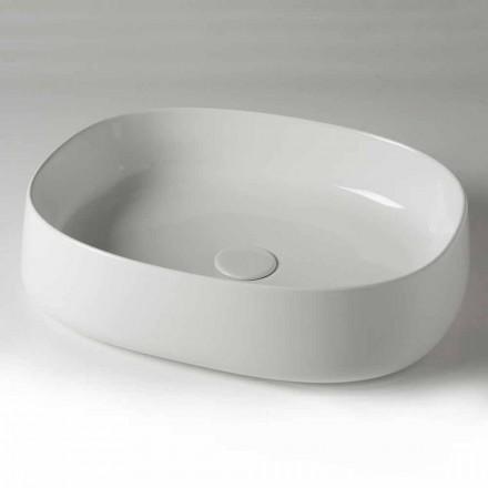 Lavatório de apoio oval de L 50 cm em cerâmica Made in Italy - Cordino