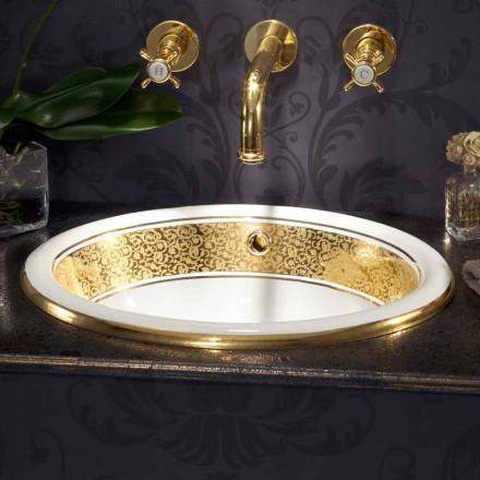 Pia embutida circular em argila de fogo e ouro 24k made in Italy, Otis