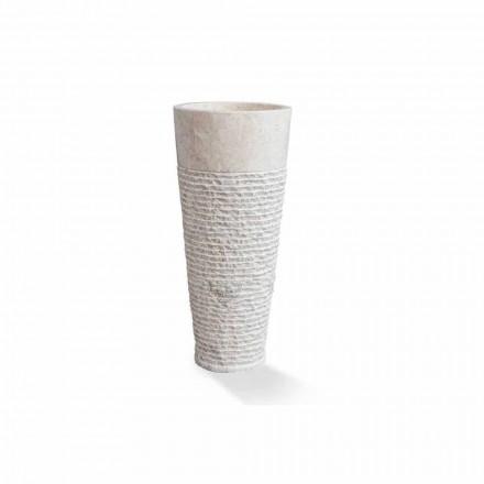 Lavatório autônomo de coluna moderna em mármore branco - Merlo