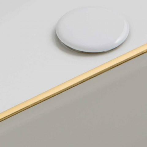 Lavatório de bancada de cerâmica design com borda de ouro feita na Itália Debora