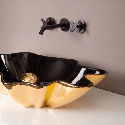 Bacia de cerâmica preta e dourada Rayan, design italiano