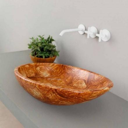 Dissipador de bancada de cerâmica moderna Brilhante, padrão de tartaruga, feita na Itália
