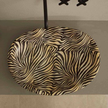 Lavatório de cerâmica de design com zebra laranja feita na Itália brilhante