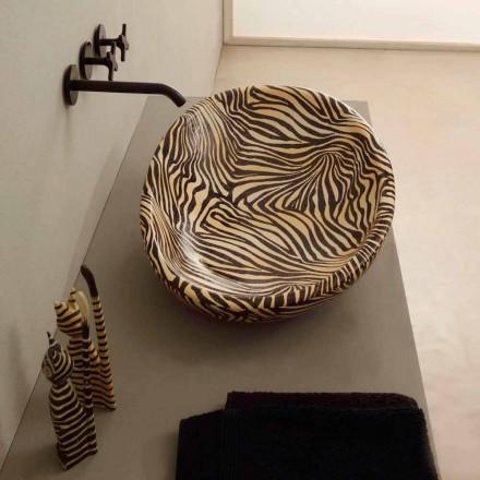 Bancada de cerâmica laranja brilhante com zebra-padrão, feita na Itália