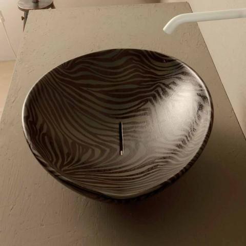 Lavatório de bancada de design zebra cerâmica preta feita na Itália animais