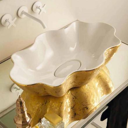 Cuba de bancada de cerâmica moderna de ouro e branco Cubo, feita na Itália