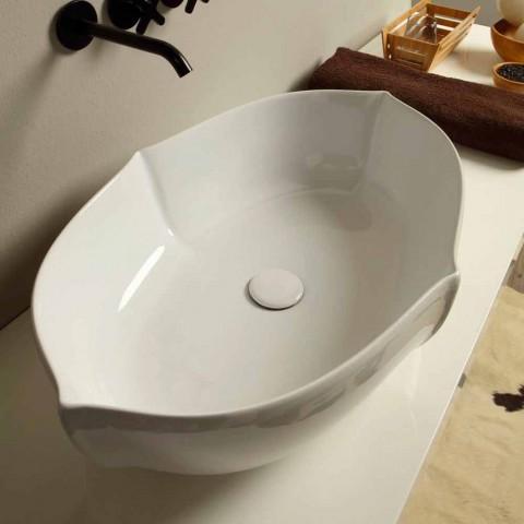 Lavatório design de bancada em cerâmica branca feita na Itália Oscar