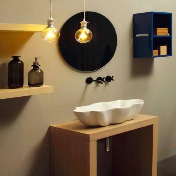 Lavatório de bancada de design moderno em cerâmica branca made in Italy Cubo