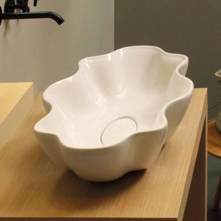 Bacia de cerâmica branca Cubo, feita em design moderno Itália