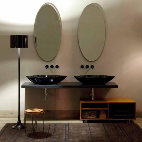 Design moderno bancada lavatório de cerâmica preto feito na Itália Rayan
