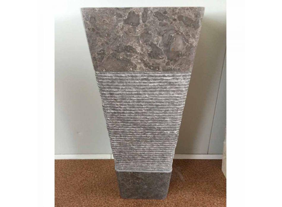 Lavatório cinza com suporte em pedra Taffy, peça única
