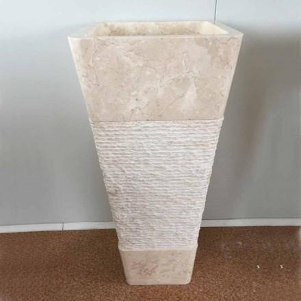 Pia autônoma de pedra branca natural Robin, peça única de design