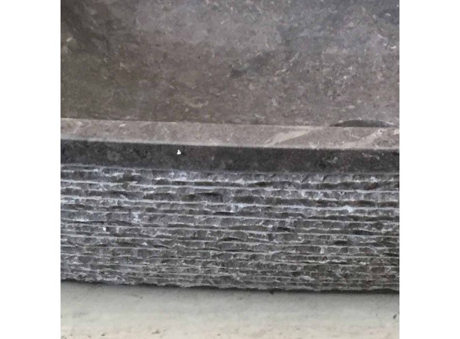 Jero lavatório de apoio de pedra natural, cinza escuro, design