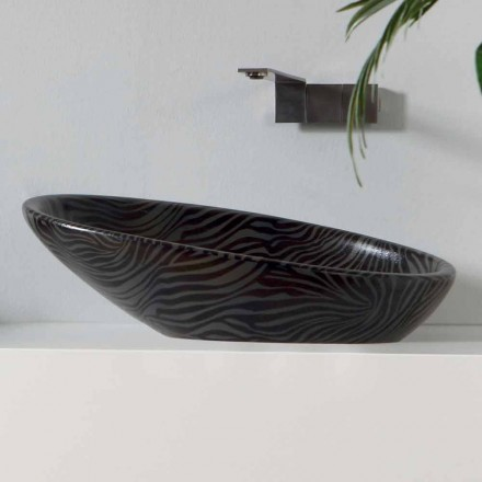 Lavatório de bancada moderna em cerâmica de prata feita na Itália brilhante