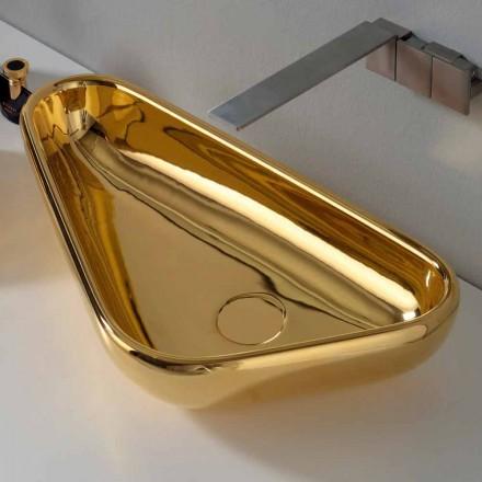 Lavatório de bancada moderno em cerâmica dourada feita na Itália Sofia