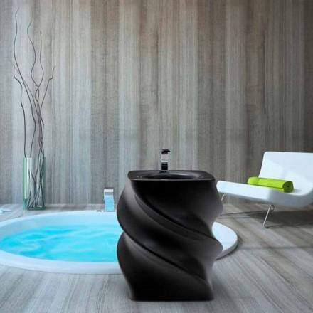 Lavatório de pousar preto, design moderno, torção