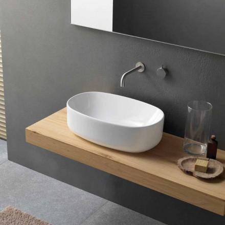 Lavatório oval moderno de bancada em cerâmica branca - Ventori1