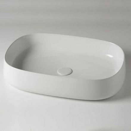 Lavatório de apoio oval de L 60 cm em cerâmica moderna fabricado na Itália - Cordino