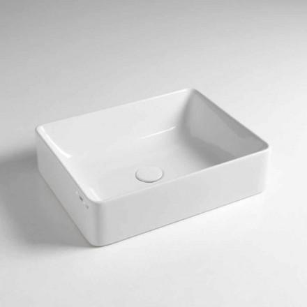 Lavatório de apoio retangular L 50 cm em cerâmica Made in Italy - Rotolino