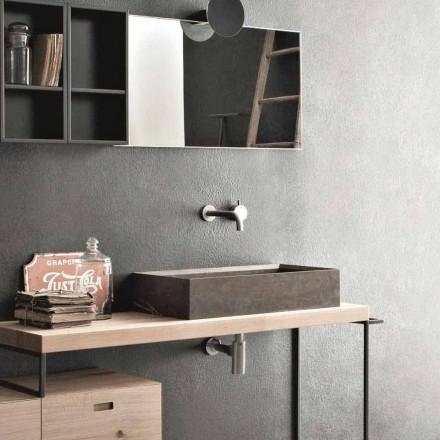 Lavatório retangular e moderno de bancada em pedra design - Farartlav3
