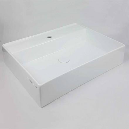 Lavatório de apoio retangular L 60 cm em cerâmica Made in Italy - Piacione