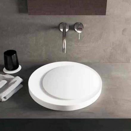 Lavatório de apoio redondo design em Luxolid Solid Surface Crema