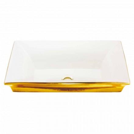 Pia semi-encastrada moderna em argila de fogo e ouro de 24 quilates, Guido