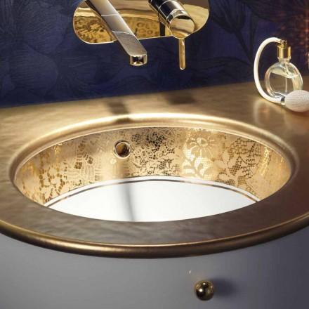 Pia de undertop em argila de fogo e ouro de 24 quilates artesanalmente na Itália, Egeo