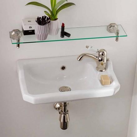 Lava-mãos suspenso em cerâmica de design clássico, fabricado na Itália - Nausica