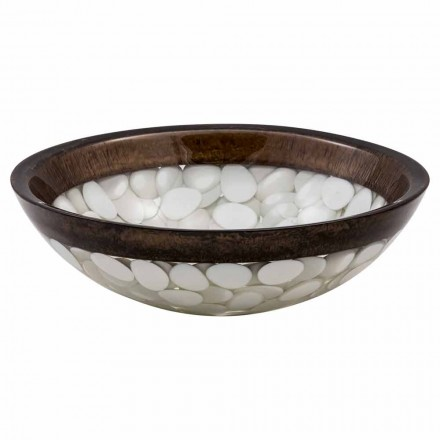 Bacia de bancada circular artesanal de resina, Buguggiate, peça única