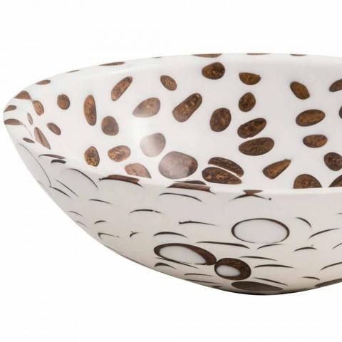 Pia de bancada artesanal redonda moderna em resina, Bussi