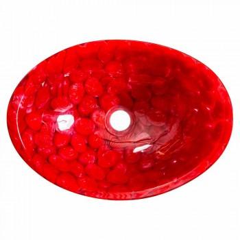 Pia de bancada moderna em resina vermelha artesanal, Buscate