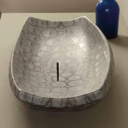 Bacia de cerâmica Laura com padrão de jacaré, feito na Itália
