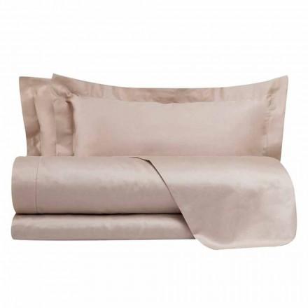 Conjunto de lençóis de algodão acetinado para cama de casal cor sólida - Freesia