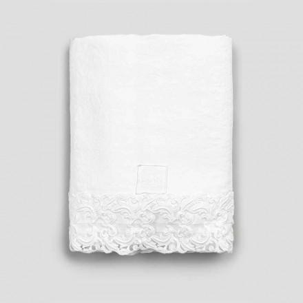 Lençol liso de linho branco com renda para cama de casal de alta qualidade - Fiumana
