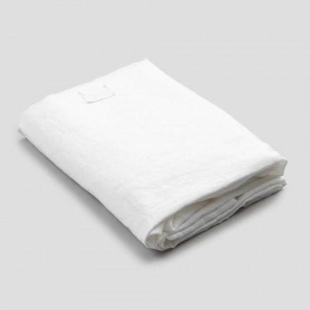 Lençol de linho branco para cama de casal, design de luxo feito na Itália - Fiumano