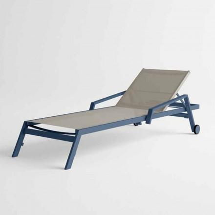 Espreguiçadeira ao ar livre em alumínio com rodas e braços Design moderno - Carmine