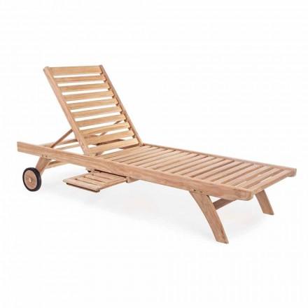 Moderna teca reclinável do jardim espreguiçadeira com rodas - Canárias
