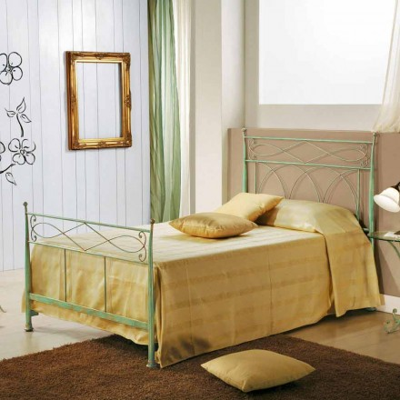 Ferro forjado pequena cama de casal Gabriella, design clássico, feito na Itália