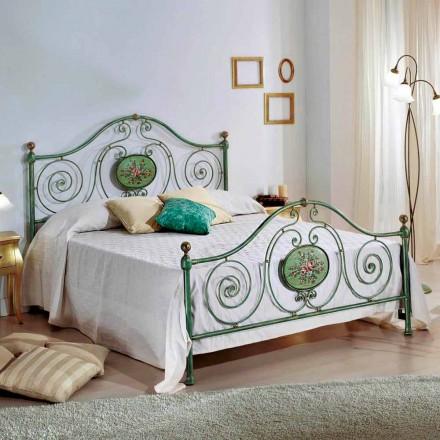 Cama de casal de ferro forjado italiano Rachael, design clássico