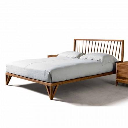 Cama de design moderno Alain, estrutura sólida cama de nogueira, 160x200 cm
